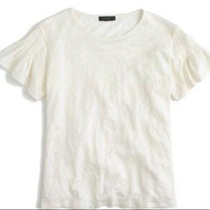 J. Crew white linen flutter sleeve T-shirtt